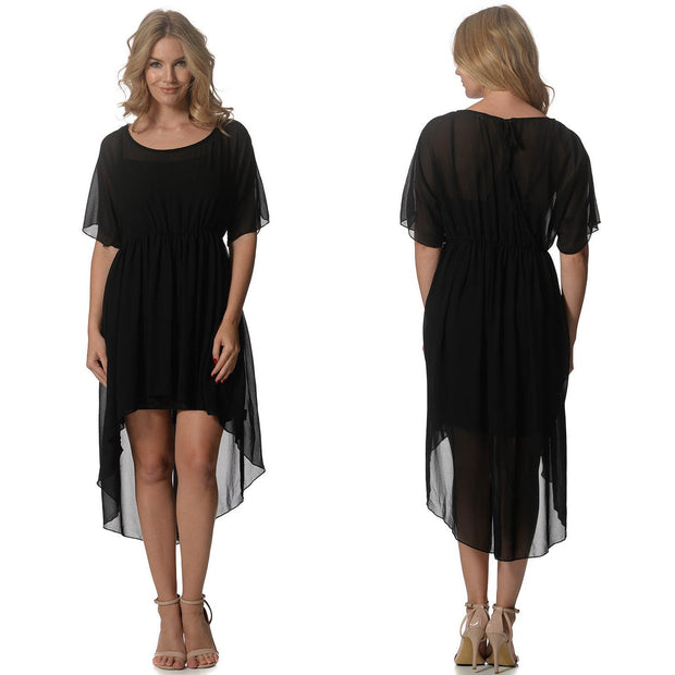 Black High Low Dress Front and Back