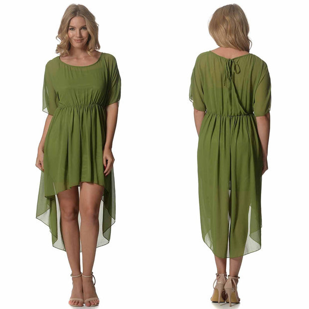 Khaki High Low Dress front and Back