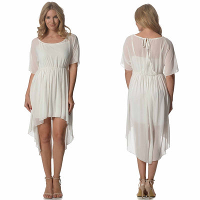 White High Low Dress Dress Bohemian Inspire