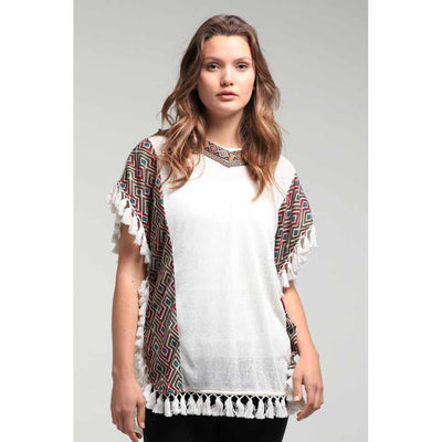 Tassel Kaftan Over Top Tops Isabella Boho Diamond