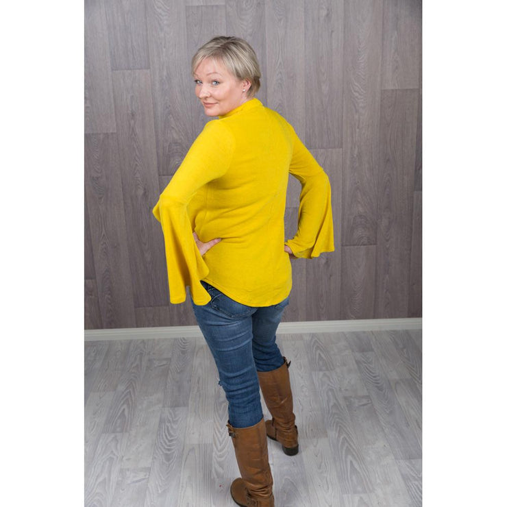 Belinda Bell Sleeve Jumpers Knitted Jumpers and Jackets Caroline Morgan 10 Mustard