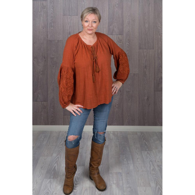 Embroidered Puff Sleeve Tops Tops Bohemian Inspire