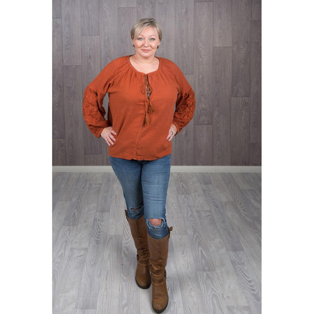 Rust Embroidered Puff Sleeve Tops