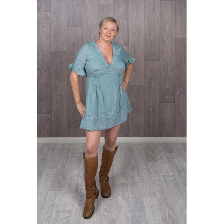 Lacey Teal Shift Dress Short Sleeve Dress Pink Diamond