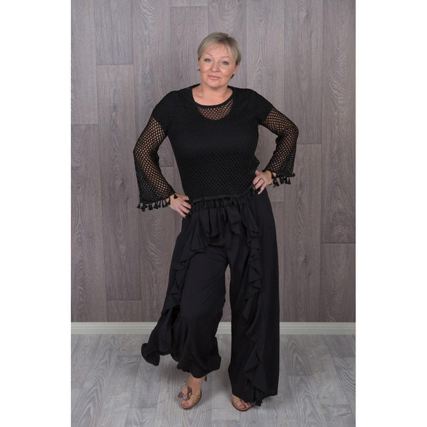 Black Frill Wrap Pants