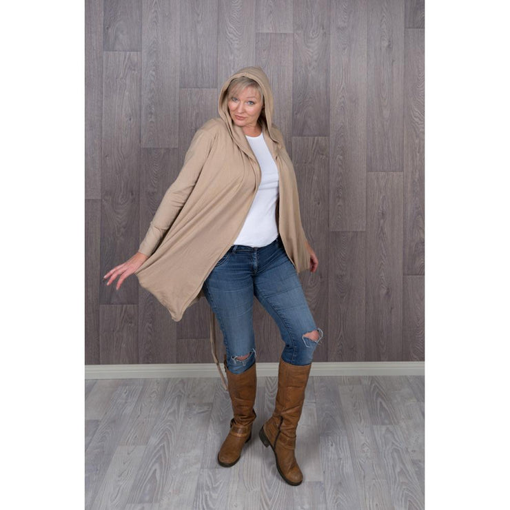 Hooded Beige Gathered Knitted Cardigan Knitted Jumpers and Jackets Bohemian Inspire