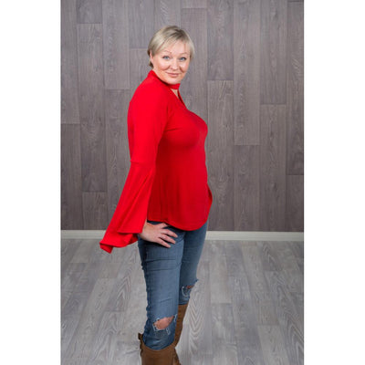 Belinda Bell Sleeve Jumpers Knitted Jumpers and Jackets Caroline Morgan 10 Red