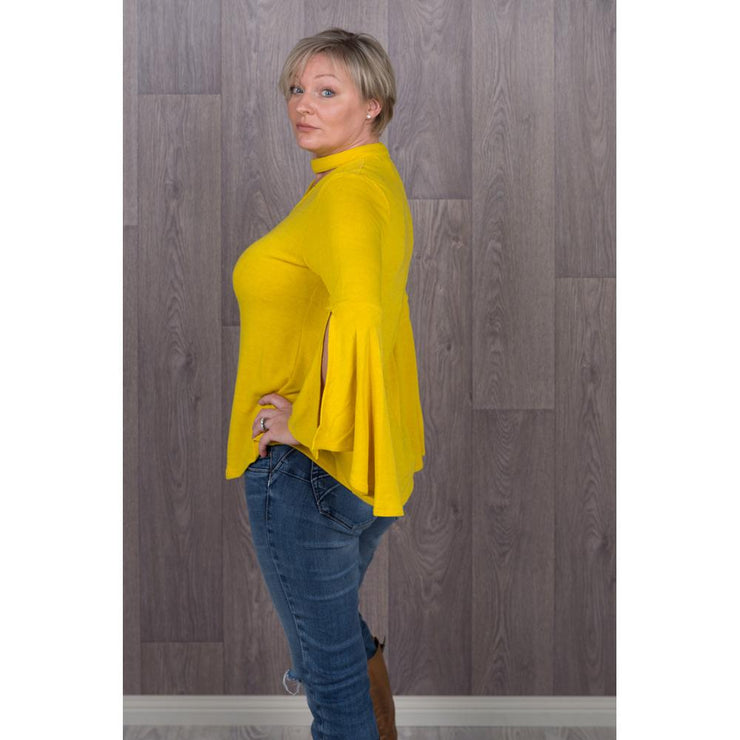 Belinda Bell Sleeve Jumpers Knitted Jumpers and Jackets Caroline Morgan 8 mustard