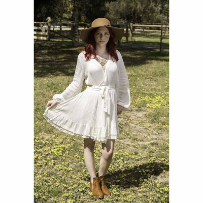 White Mini Wrap Dress Dress Bohemian Inspire