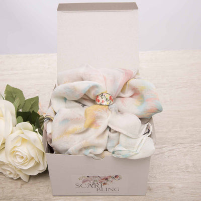Flora Feather Bling Ring Scarf Set Scarves Bohemian Inspire