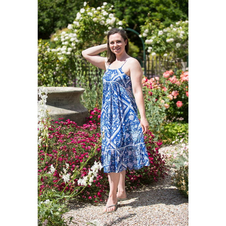 Swan River Rose Vine (Blue) Midi Dress Dress Bohemian Inspire