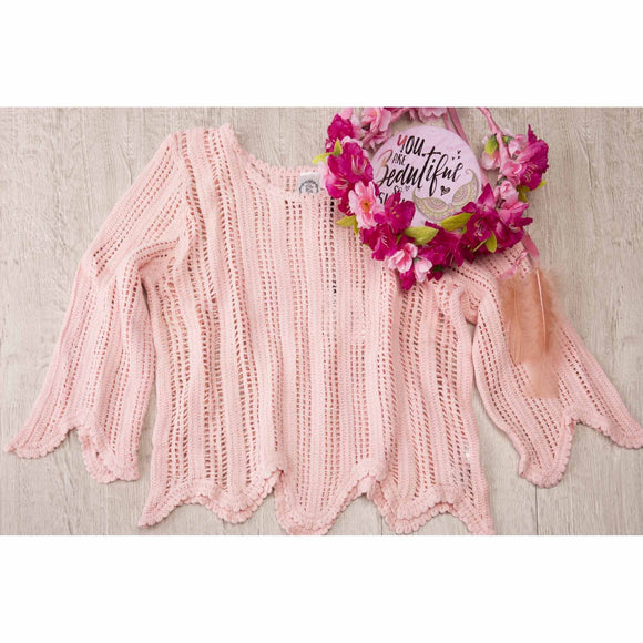 Pink Knitted Scalloped edge Bohemian Top