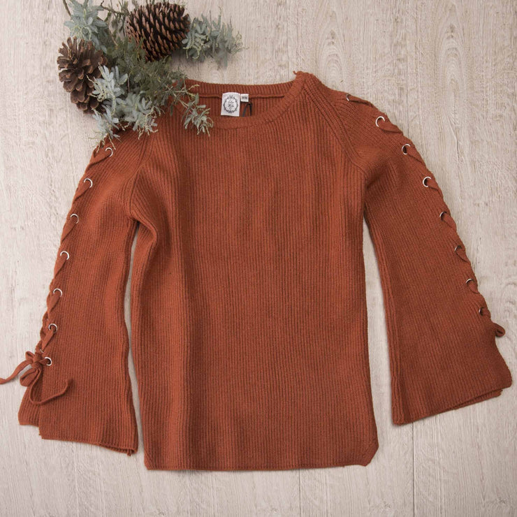 Lace-up Sleeve Knitted Jumper Knitted Jumpers and Jackets Bohemian Inspire S/M Rust