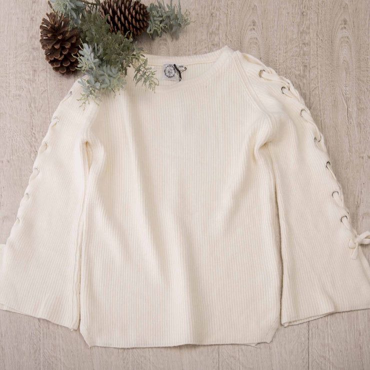 Lace-up Sleeve Knitted Jumper Knitted Jumpers and Jackets Bohemian Inspire S/M Cream