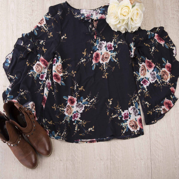 Navy Frill Sleeved Blouse Flat