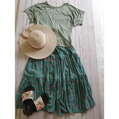 High Low T-Shirt Tops Tops Bohemian Inspire S/M Olive