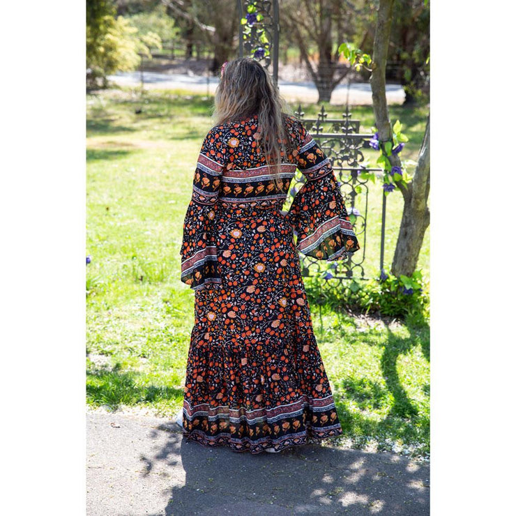 Orange Burst Madison Wrap Maxi Dress Bohemian Inspire
