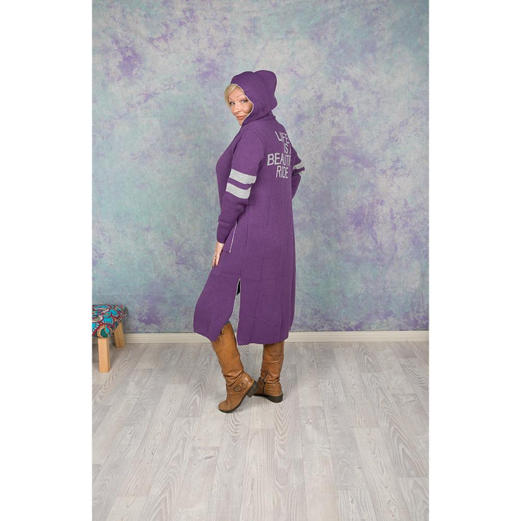 Life is a Beautiful Ride Hooded Cardi Knitted Jumpers and Jackets Bohemian Inspire Purple