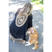 Short Dreamcatcher Kimonos Kimono Bohemian Inspire Black and Coffee
