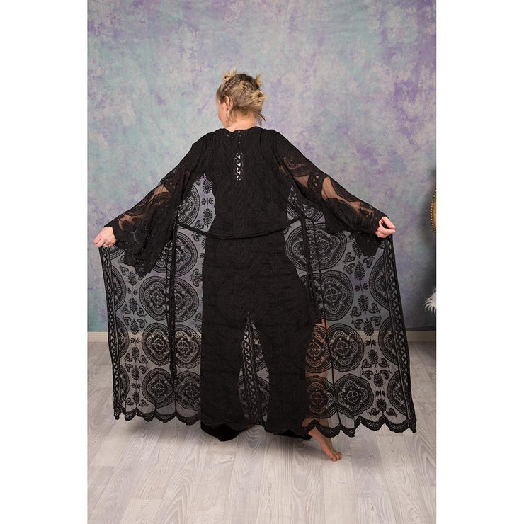 Embroidered Lace Capes Kimono Bohemian Inspire S/M Black
