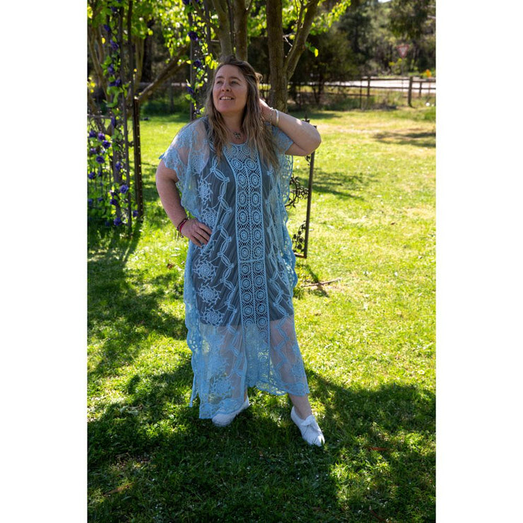 Blue Maxi Lace Throw Dress Dress Bohemian Inspire