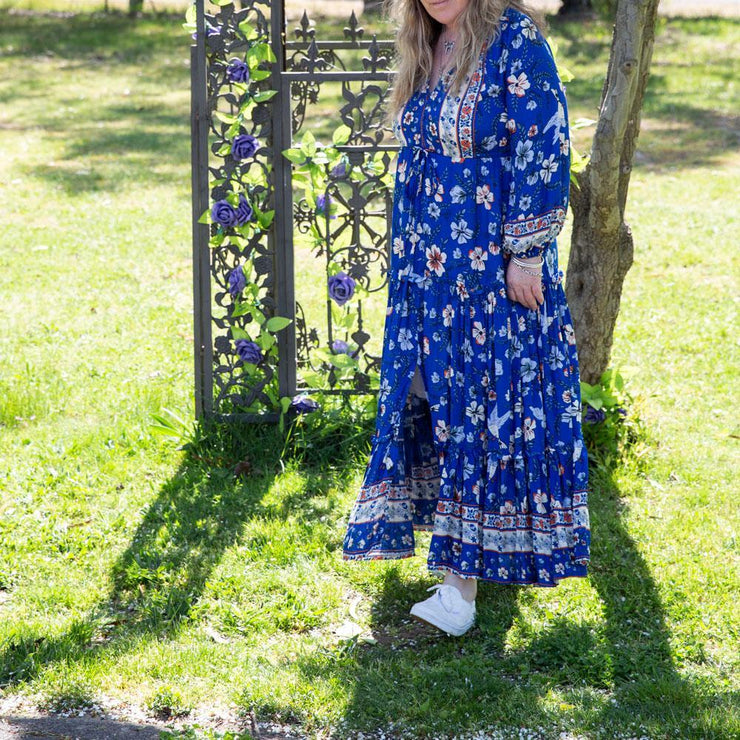 Cynthia Midi Dress Electric Blue Dress Bohemian Inspire