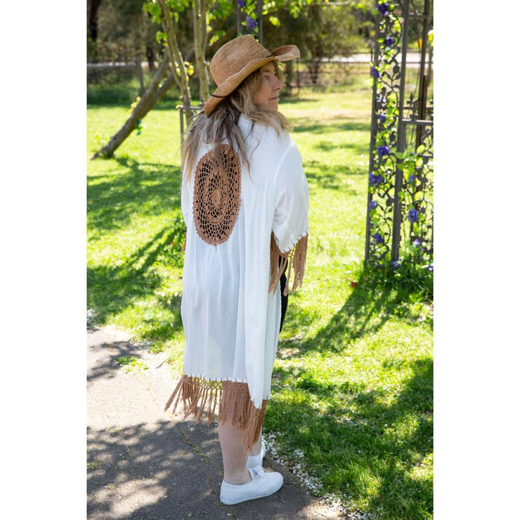 Midi Dreamcatcher Kimonos Kimono Bohemian Inspire White and coffee