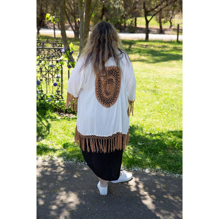 Short Dreamcatcher Kimonos Kimono Bohemian Inspire White and coffee