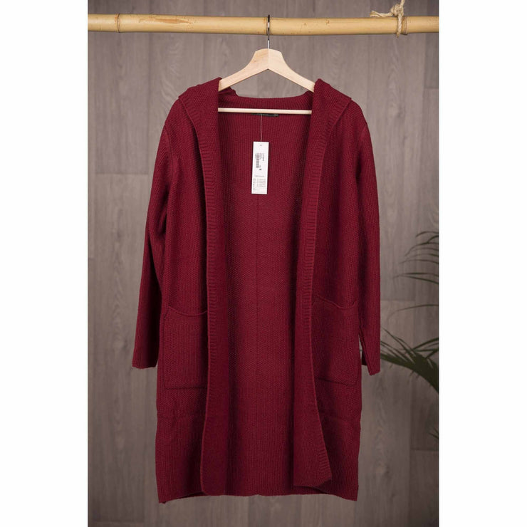 Long Hooded Jackets Knitted Jumpers and Jackets Bohemian Inspire S Burgundy