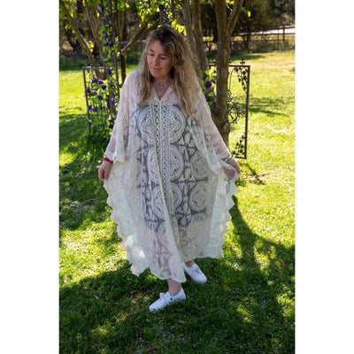 Cream Midi Lace Throw Dress Dress Bohemian Inspire
