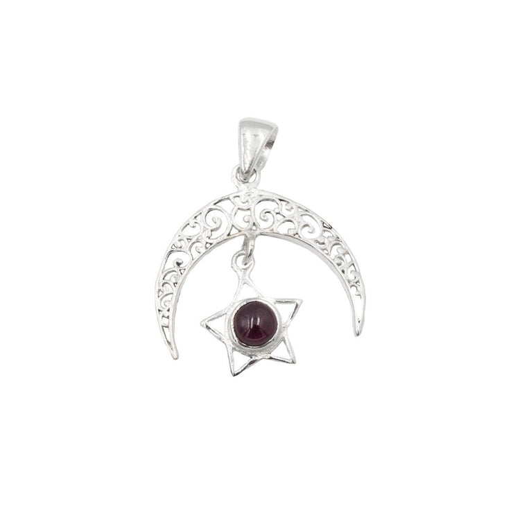 Moon and Star Gem stone Pendant Jewellery Bohemian Inspire Garnet