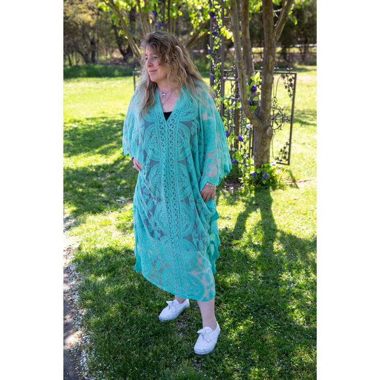 Green Midi Lace Throw Dress Dress Bohemian Inspire
