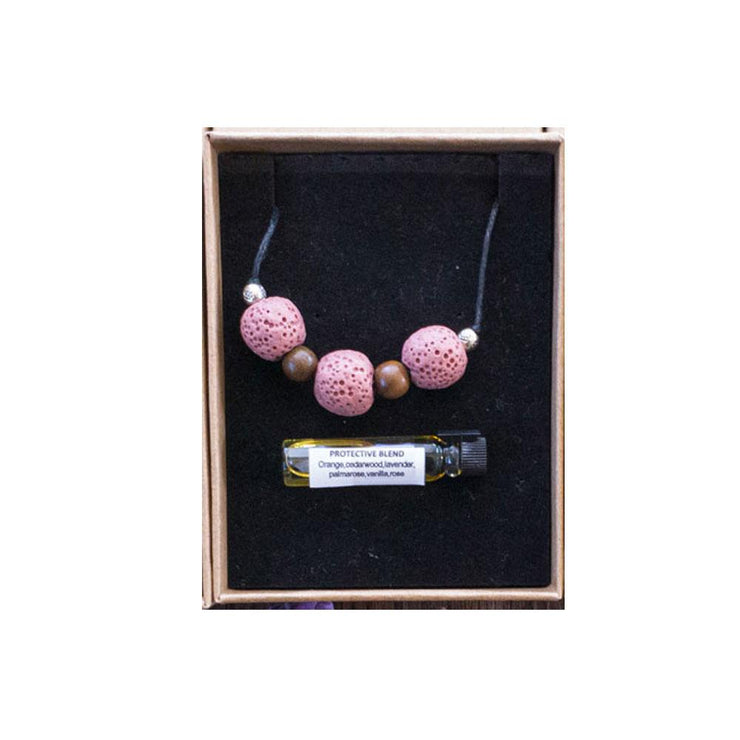 Lave Bead Necklace Crystal Bohemian Inspire Pink