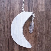 Hanging Moon Selenites Crystal Bohemian Inspire Feather