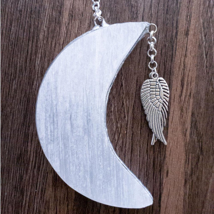 Hanging Moon Selenites Crystal Bohemian Inspire Angel Wings