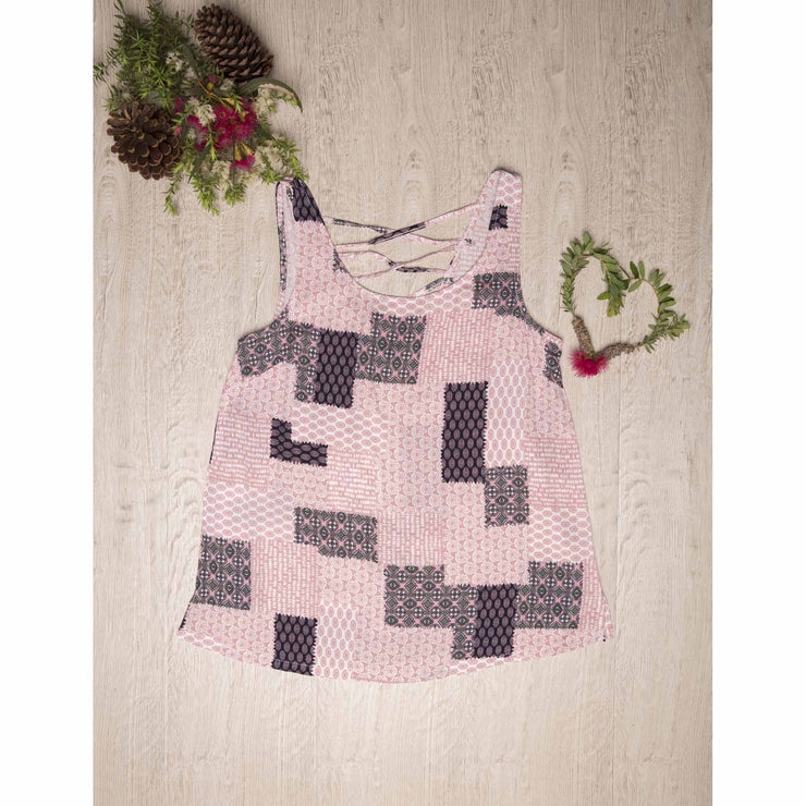 Pink Patchwork Singlet Top Tops Silver Wishes