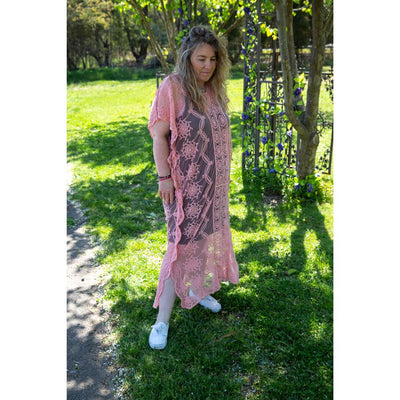 Pink Maxi Lace Throw Dress Dress Bohemian Inspire