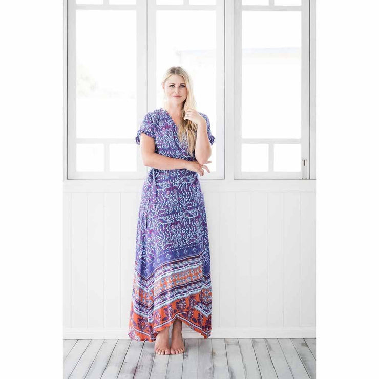 Tilly Purple Maxi Wrap Dress Dress Indigo Flower