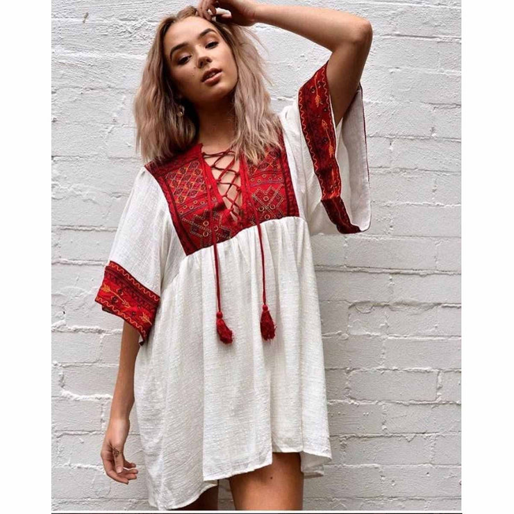 Bohemian Hippy Embroidered Mini Dress Dress Paper Heart