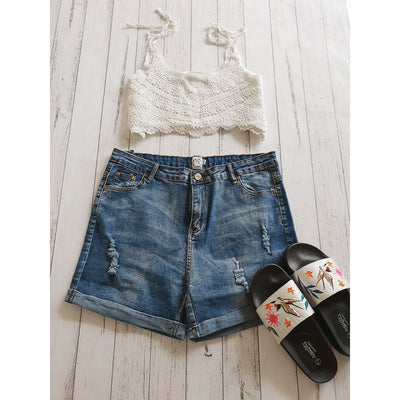 Roll Up Denim Shorts Pants Bohemian Inspire