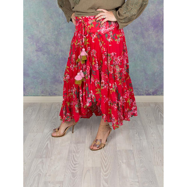 Red Casia Spanish Maxi Skirts