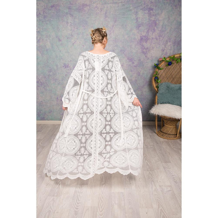 Embroidered Lace Capes Kimono Bohemian Inspire S/M White