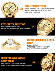 Men's Gold Watches, Luxury Analog Wrist Watch with Golden Plating Stainless...