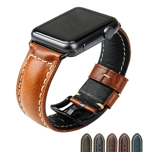 MAIKES Genuine Leather iwatch Replacement Strap 38 42mm for Apple Watch Band...