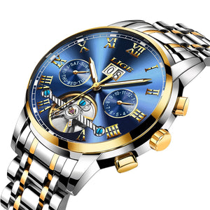 Affute Mens Automatic Mechanical Wrist Watches Stainless Steel Date Skeleton...