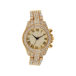 14k Gold Plated Roman Silver Dial Fully Iced Out Metal Band Cubic Zirconia...