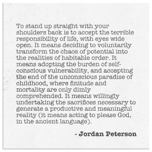 Jordan Peterson Quote Canvas - Stand up straight
