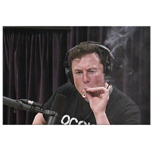 Iconic Elon Musk hitting joint on The Joe Rogan Experience