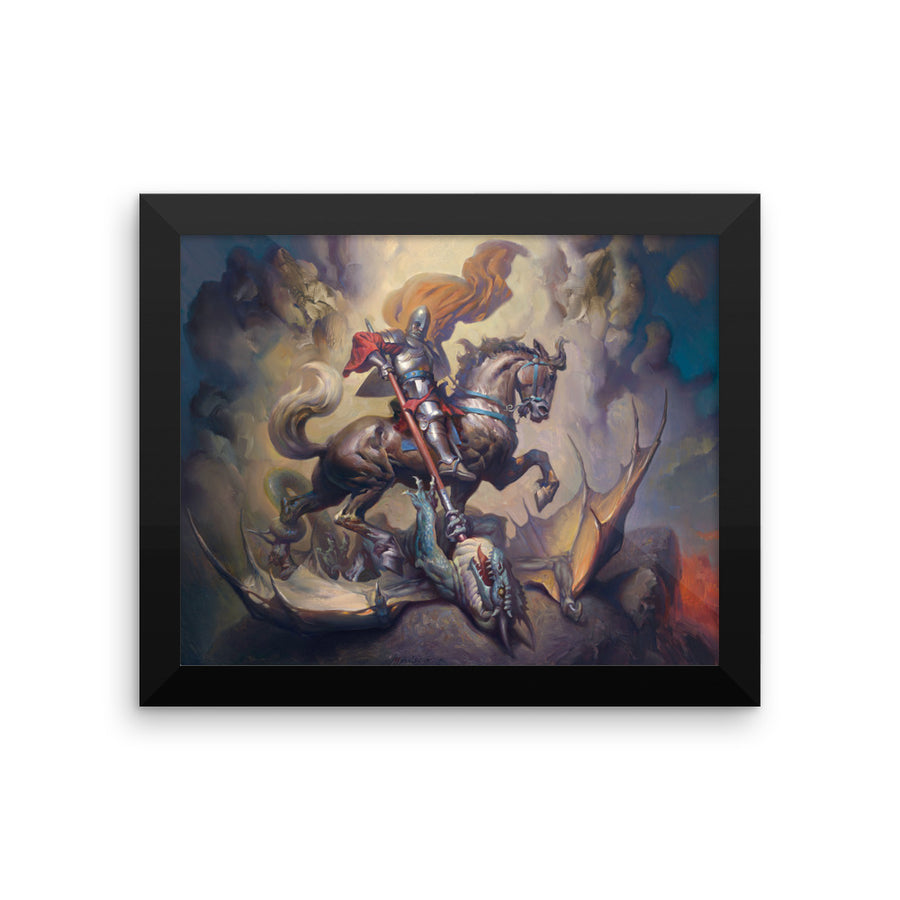 St. George slaying dragons - Framed poster
