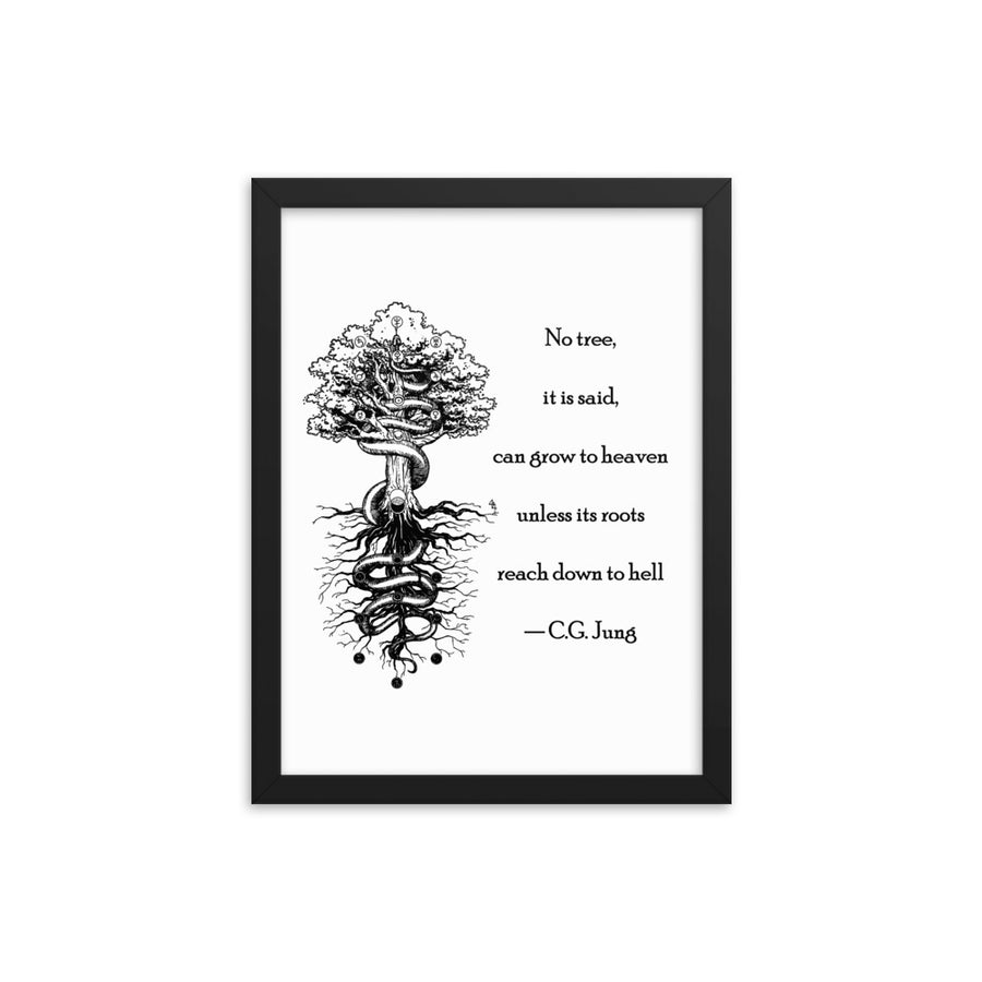 No Heaven without Hell - Carl Jung Quote - Framed poster
